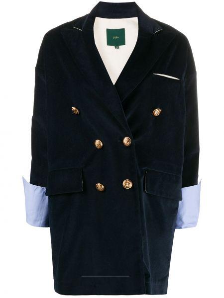 Хлопковый синий классический пиджак с карманами Jejia