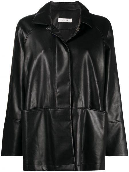Классическая черная свободная длинная куртка с воротником áeron