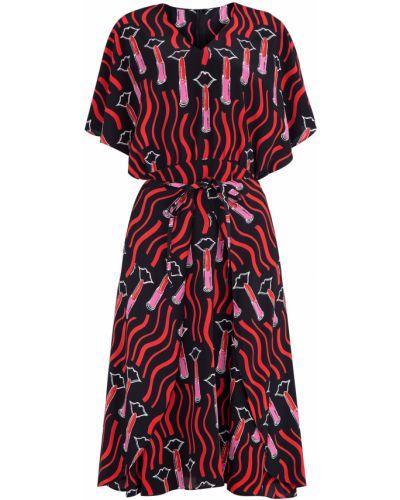 Платье с поясом с V-образным вырезом с вырезом Valentino