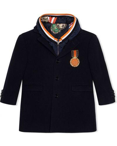 Синее шерстяное пальто классическое с капюшоном Dolce & Gabbana Kids