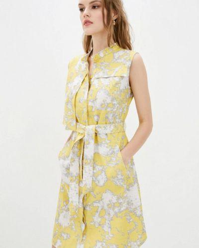 Желтое прямое платье Ricamare
