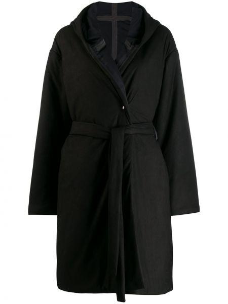 Черное кожаное дутое пальто с капюшоном Isaac Sellam Experience