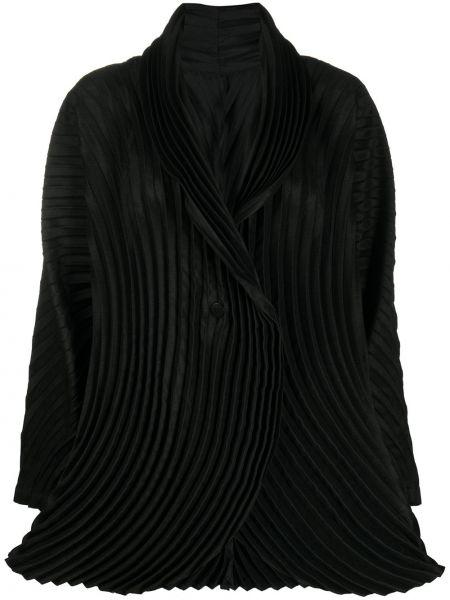 Шерстяной черный удлиненный пиджак на пуговицах Issey Miyake