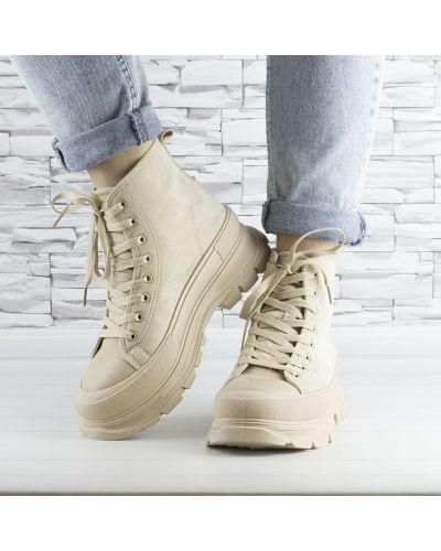 Ботинки на шнуровке - бежевые Violeta