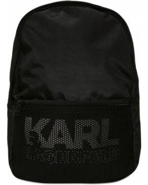 Czarny plecak z siateczką bawełniany Karl Lagerfeld