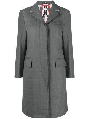 Серое длинное пальто с воротником в полоску Thom Browne