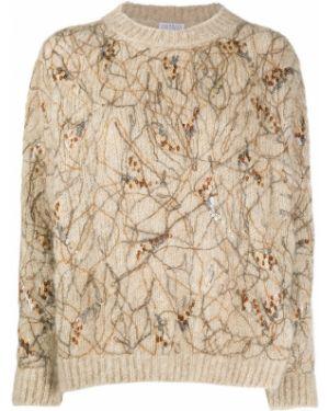 Коричневый свитер из мохера с круглым вырезом с длинными рукавами Brunello Cucinelli