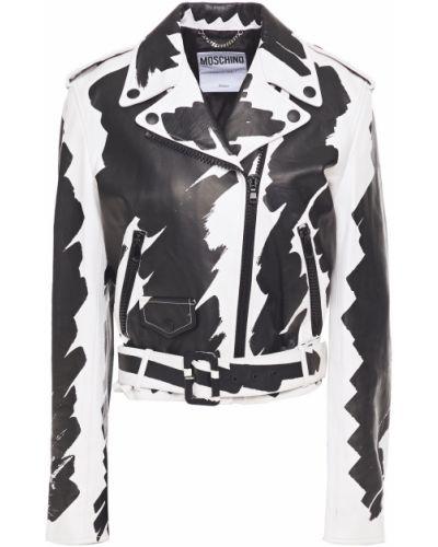 Белая кожаная куртка с подкладкой Moschino