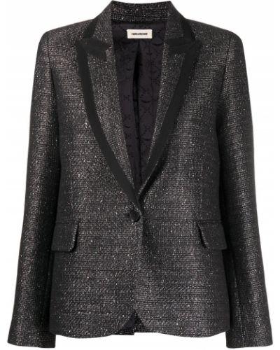 Черный удлиненный пиджак твидовый на пуговицах Zadig&voltaire