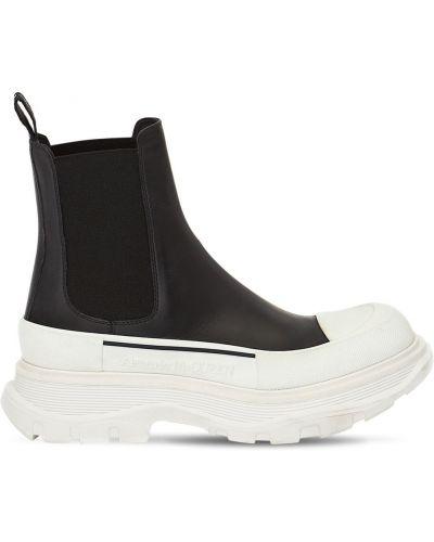Czarny buty z prawdziwej skóry elastyczny z wkładkami Alexander Mcqueen
