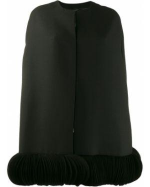 Czarna narzutka wełniana z haftem Valentino