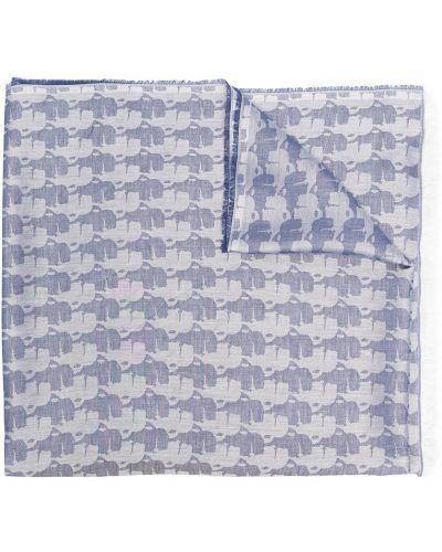 Niebieski szalik bawełniany z printem Karl Lagerfeld
