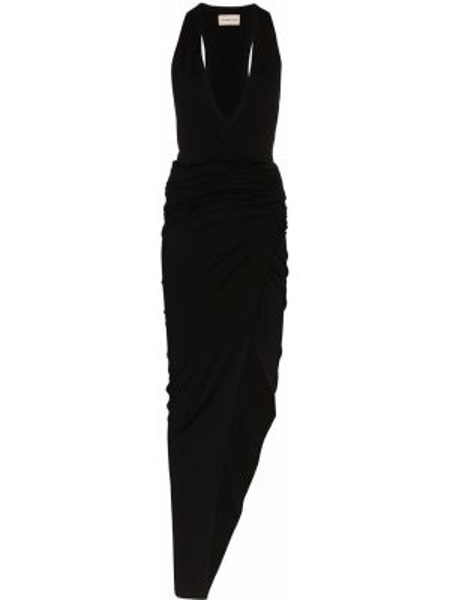 Czarna sukienka midi asymetryczna z dekoltem w serek Alexandre Vauthier