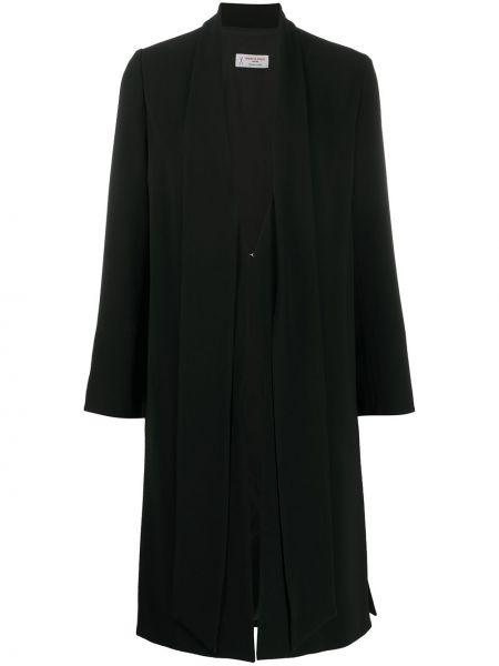 Черное длинное пальто с капюшоном на крючках Alberto Biani