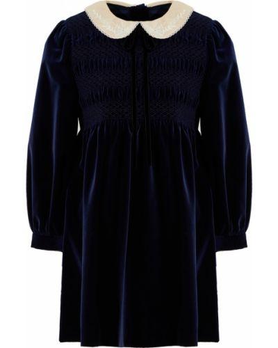 Бархатное синее платье Gucci