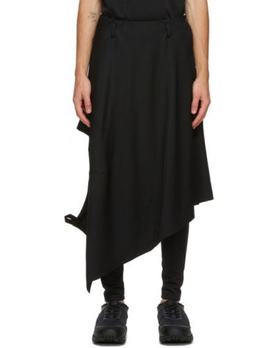 Czarny asymetryczny spódnica zapinane na guziki z gabardyny Comme Des Garcons Homme Plus