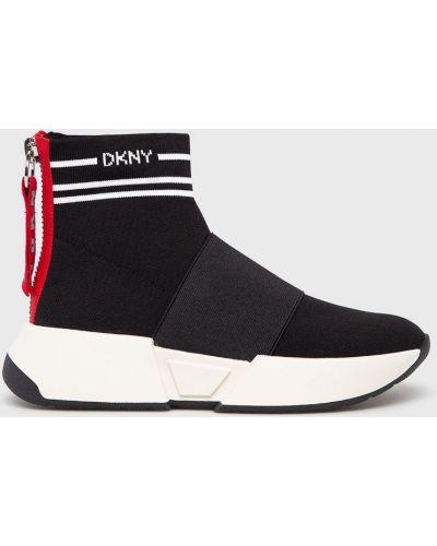 Черные текстильные кроссовки на платформе Dkny