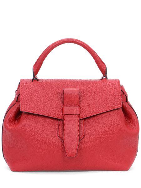 Кожаная красная мягкая кожаная сумка на молнии Lancel