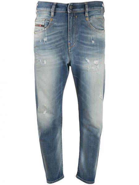 Хлопковые синие укороченные джинсы на пуговицах Diesel