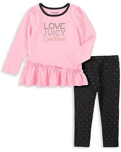 Różowy top z długimi rękawami bawełniany Juicy Couture