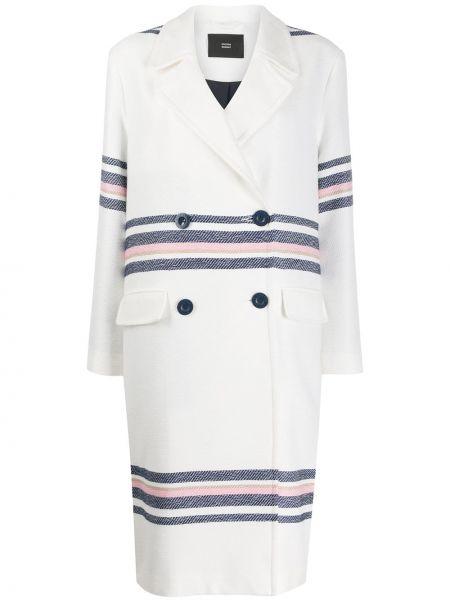 Белое длинное пальто с капюшоном на пуговицах Steffen Schraut