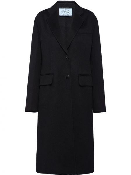Однобортное шерстяное пальто классическое с воротником на пуговицах Prada