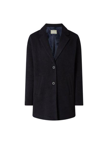 Niebieski płaszcz wełniany z bursztynem Amber & June
