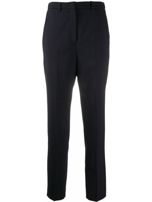 Шерстяные синие укороченные брюки с карманами Incotex