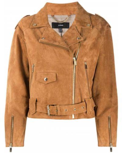 Коричневая куртка на молнии байкерская с лацканами Arma