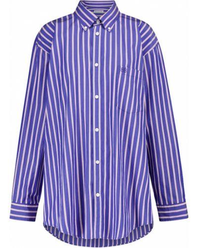 Хлопковая синяя рубашка в полоску Balenciaga