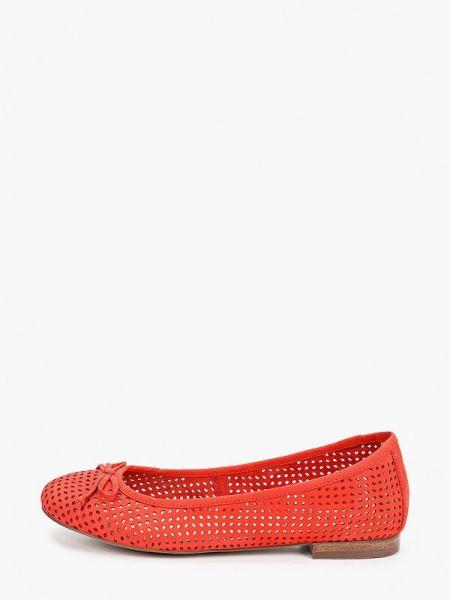 Балетки кожаные красный Caprice