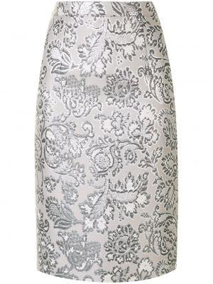 Серебряная прямая юбка карандаш из парчи Andrew Gn