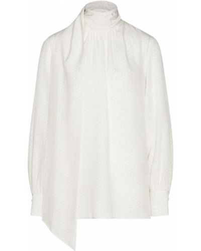 Блузка с длинным рукавом с воротником-стойкой шелковая Fendi