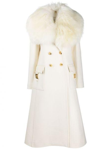 Шерстяное белое длинное пальто двубортное Lanvin
