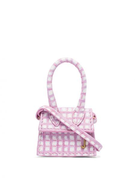 Кожаная с ремешком розовая маленькая сумка круглая Jacquemus
