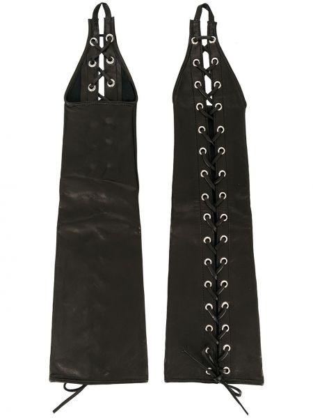 Czarne rękawiczki skorzane koronkowe Manokhi