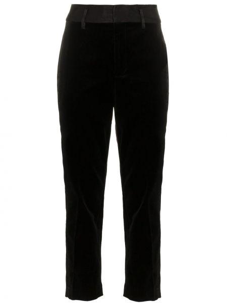 Хлопковые черные укороченные брюки с поясом Frame