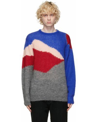 Niebieski długi sweter moherowy z długimi rękawami Clot
