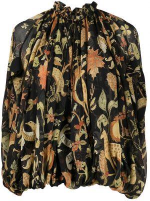 Шелковая черная блузка с короткими рукавами Lanvin