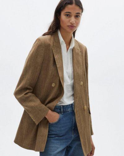 Коричневый пиджак Massimo Dutti