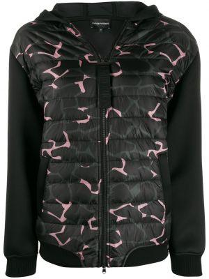 Черная куртка с капюшоном с манжетами в рубчик Emporio Armani