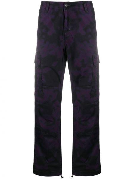 Spodni fioletowy bojówki z mankietami z paskiem Carhartt Wip
