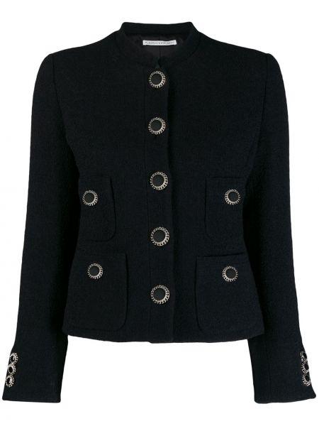 Шерстяной черный пиджак с воротником-стойка Alessandra Rich
