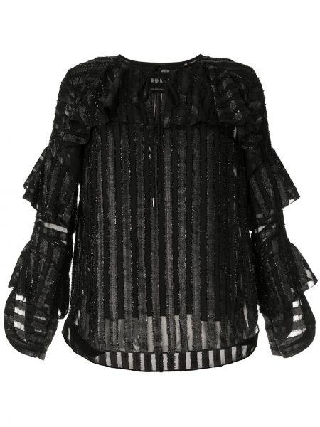 Czarna bluzka w paski z długimi rękawami Elie Tahari