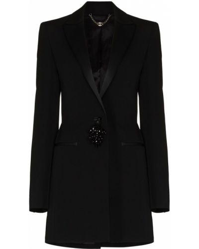 Шерстяной черный удлиненный пиджак с карманами Paco Rabanne