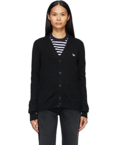 Черный шерстяной кардиган с карманами с воротником Maison Kitsuné