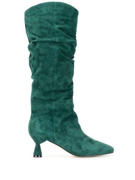 Зеленые сапоги без каблука до середины колена с квадратным носком Mara & Mine