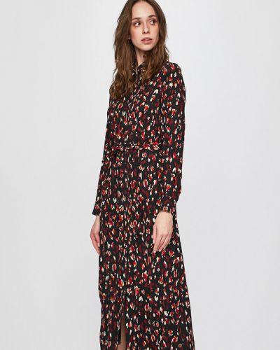 Свободное черное прямое платье миди с вырезом Vero Moda