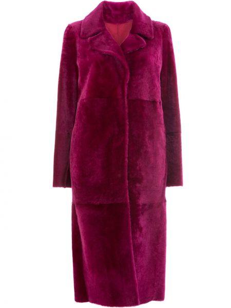 Кожаная розовая длинное пальто двусторонняя Drome