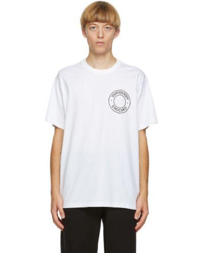 Bawełna biały koszula z krótkim rękawem z kołnierzem z aplikacjami Burberry